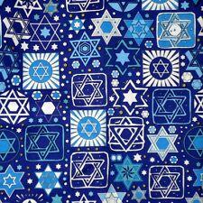 Jewish Judaica Fabric Tossed Stars on Navy