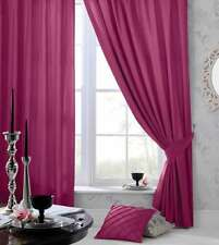 "66"" x 90"" PINK FAUX SILK CURTAINS EYELET / RING TOP FULLY LINED INC TIEBACKS"