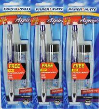3 x PAPERMATE ASPIRE MATITE PORTAMINE 0.5mm Blu con Lead Gratuito Nuovo