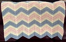 CROCHET blanket afghan couch throw chevron ripple handmade baby pink blue cream