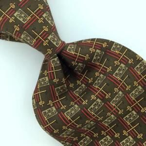 BANANA REPUBLIC MADE IN ITALY Gold BROWN Geometric Silk Necktie I4-283 Ties