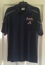 Atlanta Braves Majestic polo shirt Navy Sewn Logo Adult Medium NWOT