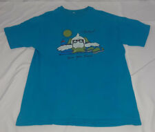 Vintage 80s Sun Your Buns South Padre Island Texas Souvenir Teal Tshirt Size XL