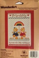 "Vintage WonderArt Counted Cross Stitch Friendship Picture Kit 5""x7"""