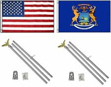 3x5 Usa American & State of Michigan Flag & 2 Aluminum Pole Kit Sets 3'x5'