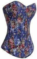 Alivila.Y Fashion Womens Vintage Floral Denim Overbust Corset, Blue, Size Medium