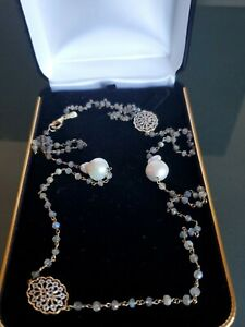 "Rarities Carol Brodie Cultured Baroque Pearl, Labradorite Necklace 36"" NWOT $190"
