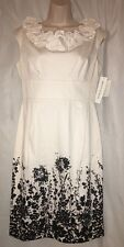 Maggy London Black & White Floral Sheath Dress size 8 NWT Ruffle Neckline