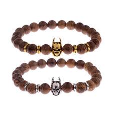 Men's Wooden Stone Gold Silver Batman Superhero Bracelet Wooden Bead Cuff Bangle