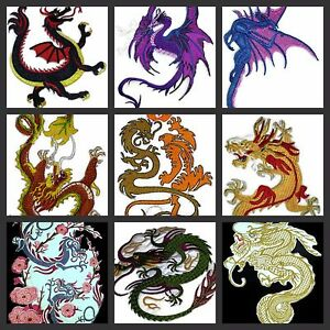 Beauty Of Dragon  Embroidered Iron On Patches