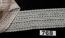 5m  x 7cm BABY PINK with 2 silver strips lace trim  [768]  Haberdashery item