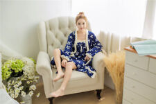 Blue Stars Winter Bathrobe Nightwear Set Flannel Warm Women Sleepwear Pajama