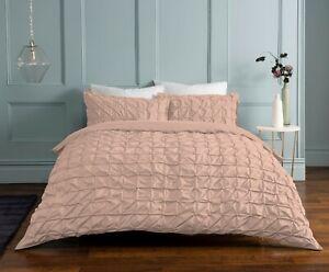Sleepdown - Rouched Pleat Duvet Set, King Size, Blush
