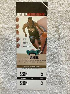 KOBE BRYANT'S LAST NBA GAME IN VANCOUVER 2001 - FULL TICKET