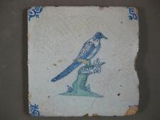 Polychrome Antique Dutch animal bird tile 17th century - free shipping