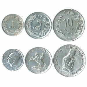 SET OF 3 COINS FROM TURKEY. 1, 5, 10 LIRA. 1981-1983
