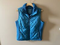 LL Bean Womens Quilted Vest Sz XL REG Blue Sherpa Lined Full Zip