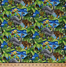 Dinosaurs Dino Animals Jurassic Dino-Might Kids Cotton Fabric Print BTY D581.36