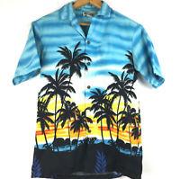 Aloha Republic Mens Small Palm Sunset Cotton Hawaiian Button Down Shirt, USA