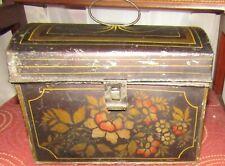 1800s Fine Antique Toleware DOCUMENT MONEY BOX Folk Art Hand Painted Stenciled