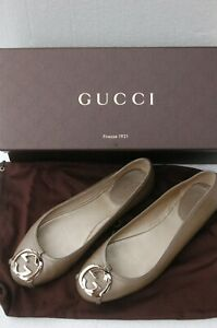 GUCCI GG Logo Buckle Ballerina Flats Loafers Grey Cocoa Size 36