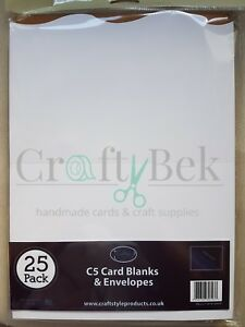 Craftstyle C5 wave edge card blanks and envelopes pack white FREE P&P