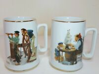 "Set Of 2 Norman Rockwell Museum Collection Mugs ""River Pilot"" & ""For A Good Boy"""