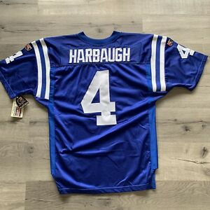 New JIM HARBAUGH AUTHENTIC Wilson Indianapolis Colts Blue Jersey 52 XXL Michigan