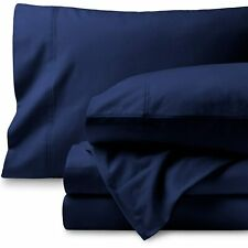 100% Cotton - Attached Waterbed Sheet Set 1000 TC All Size Navy Blue Solid
