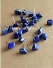 Natural cute lapis lazuli stone earrings silver stud A Pair
