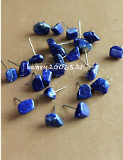 Natural cute lapis lazuli stone earrings silver stud A Pair