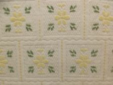 Vtg Green Yellow White Floral Poly Chenille Bedspread 98x108 Cottage Folkart
