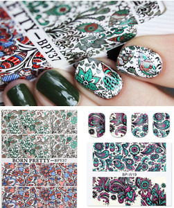 2X BORN PRETTY Nail Art Water Decals Transfer Stickers Flowers Decoration