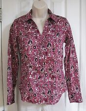 Talbots Haberdashery Long Sleeve Women Pink Floral Blouse 4 Stretch Cotton Shirt