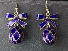 Vintage Russian enamel egg earrings, bow top, Silver gilt, guilloche enamel
