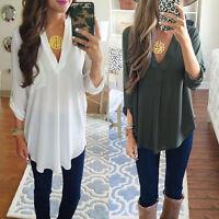 Women Casual Long Sleeve Oversize V Neck Chiffon T Shirt Top Blouse Shirt Tops