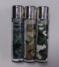 3 PACK OF CLIPPER LIGHTER REFILLABLE CAMO CAMOUFLAGE MILITARY DESIGN