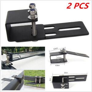 2PCS Car SUV Roof Luggage Rack Work Light Bar Bracket Holder Bumper Mounting Kit