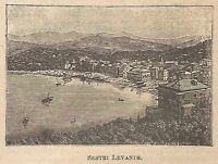 A0188 Sestri Levante - Veduta - Stampa Antica del 1907 - Xilografia