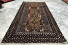 Authentic Hand Knotted Afghan Vintage Zakani Balouch Wool Area Rug 7.0 x 3.5 Ft