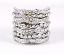 Fancy Tall Curvy Diamond Cluster Band w/Accents 14k White Gold 2.58Ct
