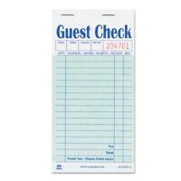 Guest Check Book, Carbon Duplicate, 3 1/2 x 6 7/10, 50/Book, 50 Books/Carton