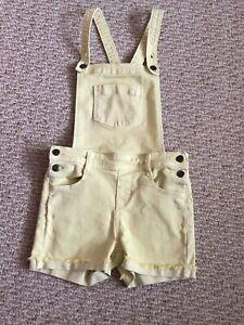 Cat & Jack Girls Size M(7/8) Yellow Denim Overall Shorts Cuffed Pockets EUC