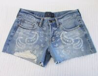 Lucky Brand Size 25 Mid Blue Wash Distressed Denim Paisley Print Cut Off Shorts