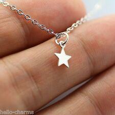 TINY STAR NECKLACE - 925 Sterling Silver - Moon Celestial Star Galaxy Star Charm