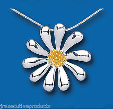 .925 Sterling Silver Gold Plated Flower Design Pendant & Snake Chain 28 x 28mm