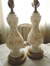 VINTAGE PAIR ART DECO WHITE SATIN GLASS TABLE LAMPS, GOLD FLORALS, NEAR FLAWLESS