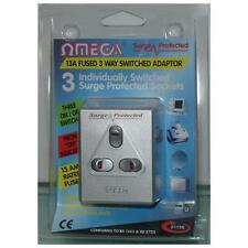 Omega 21156 3 Way Plug In Triple Socket Surge Protector Adaptor 13A AV Equipment