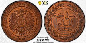TANZANIA - GERMAN EAST AFRICA , 1 PESA 1890 PCGS MS 64 RB (ST2) , RARE
