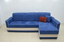 NEW FAUX SUEDE FABRIC IN ALL COLOURS, CORNER SOFA BED ARAMIS, 2 MEN DEL TO ENGL